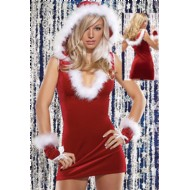 Sexy Red Christmas Cosplay Dress With Hat & Gloves