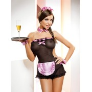 Sexy Lace Pink Bowknot Maidservant Costume Suit-BLACK