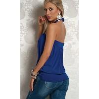 Charming Rhinestone Circlet Keyhole Halter Clubwear Top-Blue